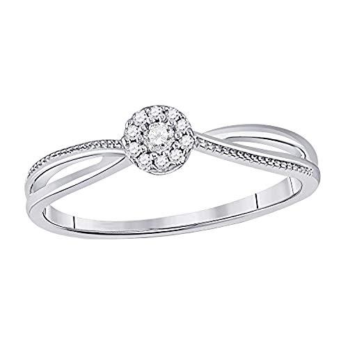 DazzlingRock Collection 10 quilates oro blanco redonda H-I Diamante blanco central diamante blanco