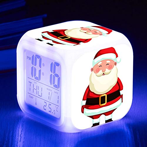 fdgdfgd Reloj Despertador con Estampado de Santa de Moda, Reloj Despertador Digital con luz LED para niños con termómetro, Reloj Despertador con Fecha