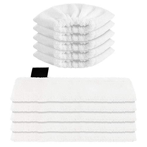 Sunnila 10 Stück Mikrofaser-Tuchset Waschbar 5 Bodendüse + 5 Handdüse Microfiber Cloth für Kärcher Dampfreiniger EasyFix SC2, SC3, SC4, SC5