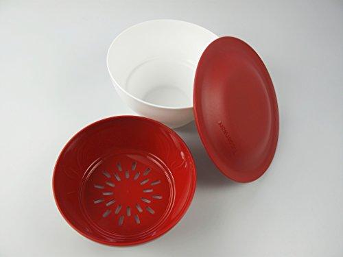 TUPPERWARE Allegra 1 L weiß rot Antipasti Antipastiera Dreh und Steh + Sieb