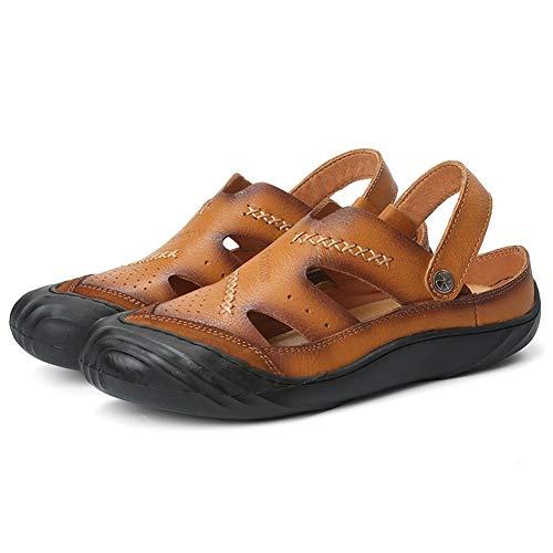 Zapatos de hombre Nuevas sandalias for hombres Zapatos de playa Tirar del cuero genuino Con experiencia Cosido Acolchado Hollow Out Doble uso Zueco con correa trasera Cerrado dedo del pie zapatos de h