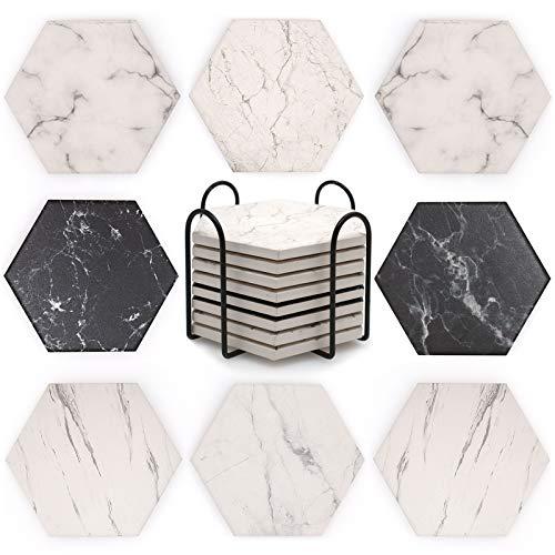 QUMENEY 8 posavasos hexagonales de cerámica con soporte, patrón de mármol, posavasos absorbentes antideslizantes con base de corcho para bebidas, decoración de bar de inauguración