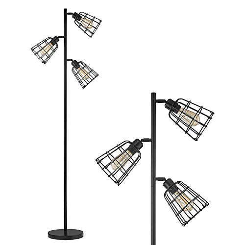 Modern Industrial Floor Lamp for Living Room Bright Lighting Tree Floor Lamps Rustic Tall Stand Up Lamp for Bedrooms, Office with Reading Light