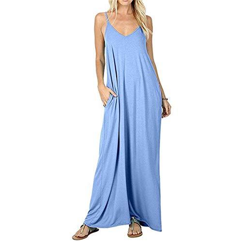 Falda larga con bolsillo de color sólido para mujer