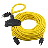 Clear Power 100 ft Heavy Duty Outdoor Extension Cord 12/3 SJTW with 2 ft (Short) 3 Outlet Extension Cord Adapter, 3 Prong Grounded Plug, 15 Amp, Yellow CPCO90003