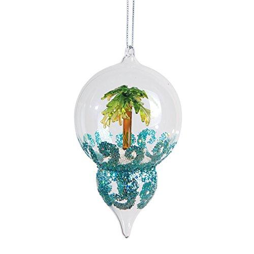 GALLERIE II Palm Tree Glass Finial Christmas Xmas Ornament Multi