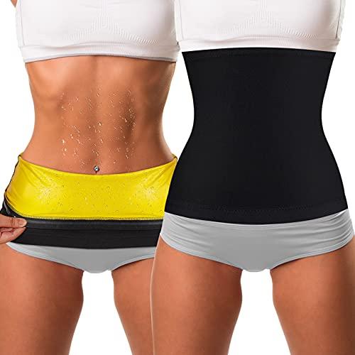 2 Pieces Waist Trimmer for Women Sweat Wrap Sweat Waist Trainer Sweat Tummy Workout Belt Stomach Wraps for Bodybuilding (Yellow Inner, L)