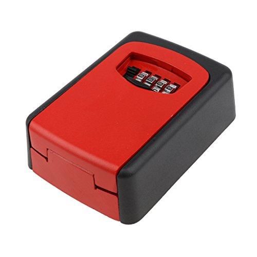 Buchstabenschloss Key Lock Box Wandhalterung 4-stellig rücksetzbaren Password Schlüssel-Aufbewahrungsbox - Rot