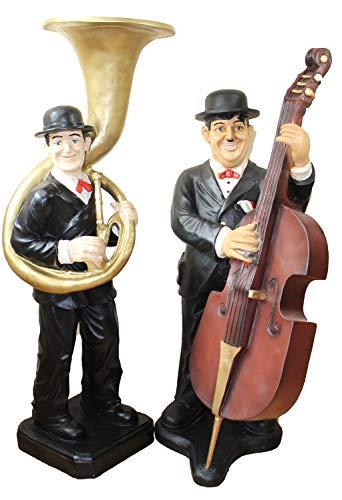 JS GartenDeko Deko Figuren Komiker Dick und Doof H 89/95 cm Laurel und Hardy als Musiker aus Kunstharz