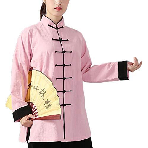 PengGengA Unisex Hebilla Kung Fu Tai Chi Ropa Artes Marciales Collar De Pie Chándales Tops+Pantalones Rosa Negro M