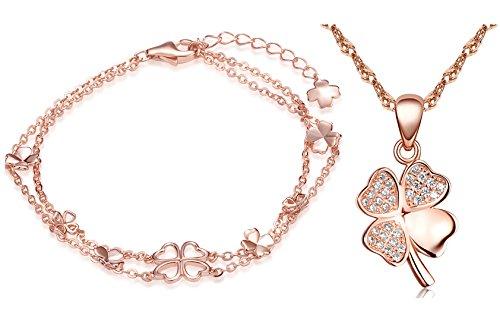 Yumilok, set in argento Sterling 925, composto da bracciale, collana e ciondoli a forma di quadrifoglio, colore oro rosa,con zirconia, per donne e ragazze