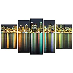 Startonight Glass Wall Art Acrylic Decor Great American Cities, and a Contemporary Clock Set of 5 Total 35.43 X 70.87 Inch the Ultimate Wall Art