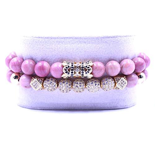 QYAQ Stone Bracelet For Women,7 Chakra Natural Rhodochrosite Stone Beads Bracelet Elasticity Five Golden Ball Bracelet Fashion Boho Lady Yoga Jewelry Gift Girlfriend Mom