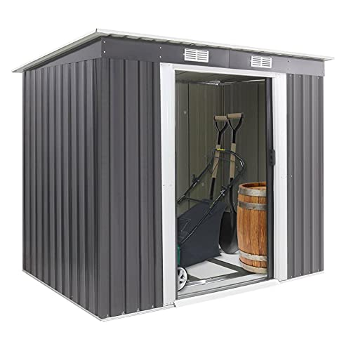Holdfiturn 7Ft X 4Ft Lockable Garden Shed Outdoor Metal Garden Storage Shed Box with 2 Sliding Doors 2 Vents and Floor Foundation Grey