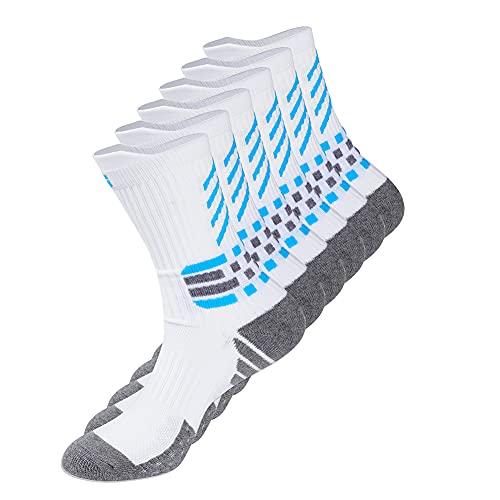 Gogogoal Fußball sportliche Ausbildung Socken Herren Damen Grip Sportsocken Crew Socke Laufen Basketball Wandern Groß Weiß L