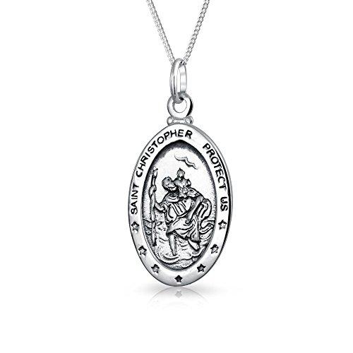 Parton Des Sicheren Reisens Medaille Medaillon Oval Saint Christopher Anhänger Halskette Für Frauen Oxidiert 925 Sterling Silber