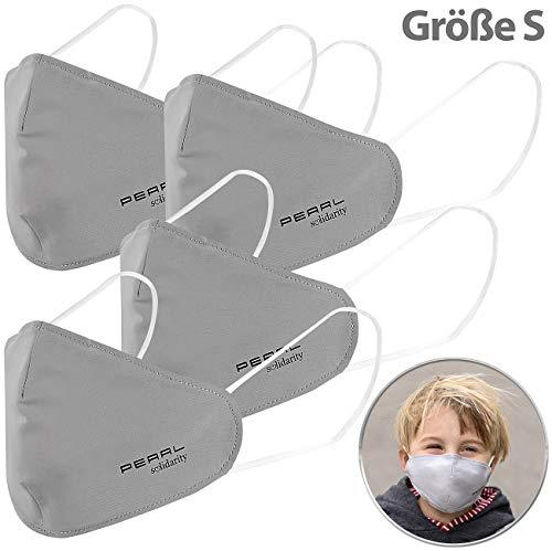PEARL Behelfs-Mundschutz: 4er-Set Mund-Nasen-Stoffmasken mit Nanofilter, 98,9%, waschbar, Gr. S (Textil-Mundschutz)
