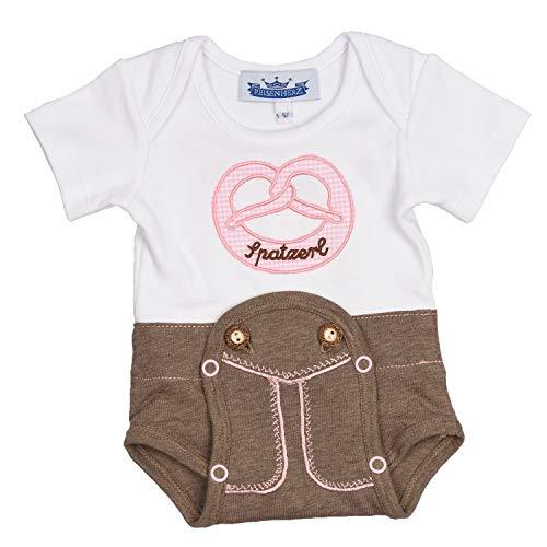 P. Eisenherz Baby Mädchen/Jungen Body Trachten Body Einteiler Lederhose (Rosa - Mädchen, 86)
