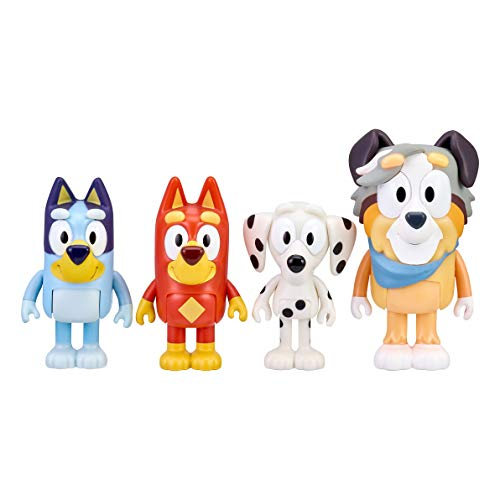 """Bluey and Friends 4 Pack of 2.5-3"""""""" Poseable Figures (13052)"""