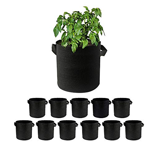 Supzone 12個セット 1ガロ 不織布 フェルトプランター 栽培バッグ 庭のDIY?台野菜と果物のために 大容量 植え袋 植木鉢 ガーデニング 野菜栽培 植物育成 通気性、浸透性が良い 直径18 * 15高