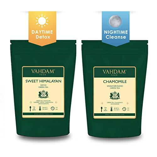 Vahdam, 50 Day & Night Organic Detox Tea - Set of 2(3.5 oz each) | Best Weight Loss Slimming Detox | Activate Immune System and Accelerate Healthful Weight Loss - Easy Brewing and Tastes Delicious