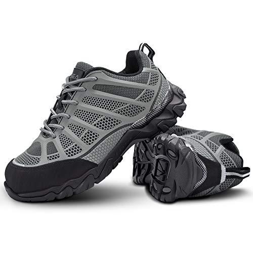 HISEA Zapatos de punta de acero para hombres Zapatos de trabajo de seguridad transpirable antideslizante EH Industrial & Construction Shoe, gris (gris), 46 EU