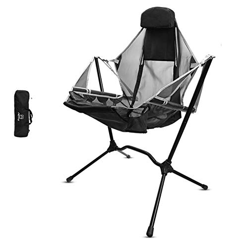 HizoeChu Camping Chair, Folding Camp Chair Collapsible Rocking Chair Lightweight & Durable Outdoor Seat Bear up to 150KG for Outdoor Camping Fishing Garden Caravan Trips