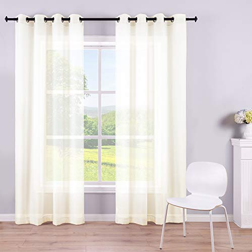 Ivory Sheer Curtains 84 Inch Length Grommet 2 Panels Faux Linen Look Voile Semi Window Sheer Curtains for Living Room Bedroom Pair Width 52 x 84 Inches Long Ring Top Ecru Light Cream Off White