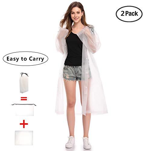 EnergeticSky Regenjacken Wiederverwendbar Regenponcho, Umweltfreundliche Eva Regenmantel, Wasserdicht Regenjacke mit Aufbewahrungstasche für Regenschutz - by (Weiße-2 Pack)