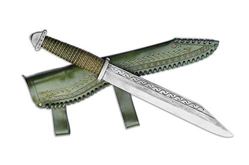 Madhammers Sax Handgeschmiedetes Federstahl Messer - Scharfe & Spitze Klinge mit grün Echtledertasche Kunst- & Kulturliebhaber - Gesamtlänge 45cm - Originelles Geschenk