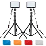 UBeesize LED Video Light Kit, 2Pcs Dimmable Continuous Portable Photography Lighting with Adjustable Tripod Stand & Color Filters for Tabletop/Low-Angle Shooting, for Zoom, Game Streaming, YouTube