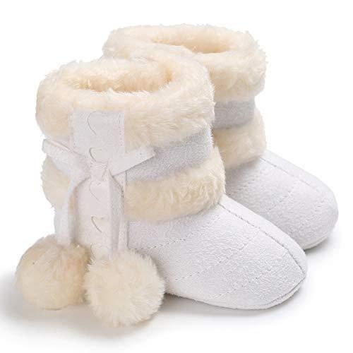 Nouveau-né Bébé Filles Garçons Pom Pom Ball Polaire en Peluche Doublé Hiver Chaud Neige Bottes Antidérapant Chaussures Cadeau De Noël (Color : White, Size : 12)