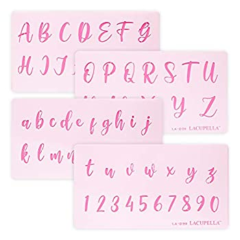 Lacupella Calligraphy Cake Stencil Cursive Alphabet Letter Number Writing 1.5 Inch Set of Four Upper and Lower Case - for Cake Wood Canvas Airbrush Art and Craft Painting
