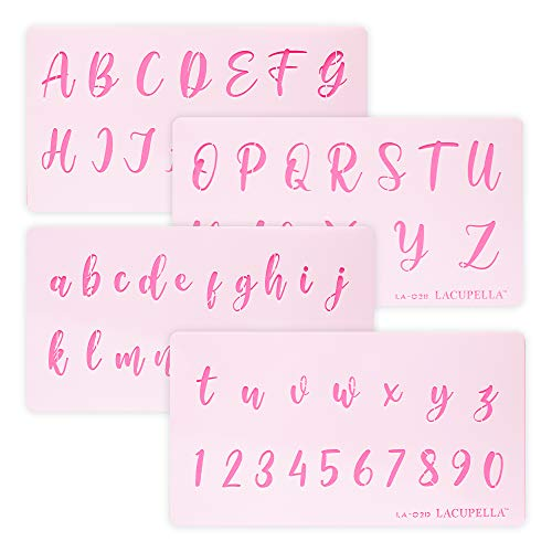 Lacupella Calligraphy Cursive Alphabet Letter Number Cake Acrylic Stencil 1.5 Inch Set of Four - for Cake Airbrush Art and Craft Painting