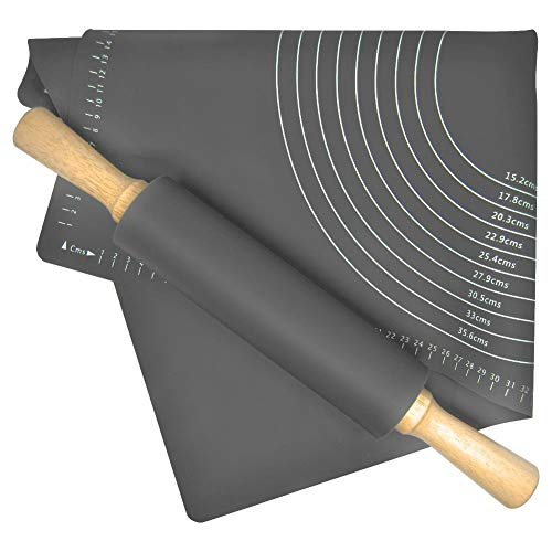 ORION Silikon Backmatte Silikonmatte 60x40 cm + Teigrolle Nudelholz Teigroller für Kuchen grau
