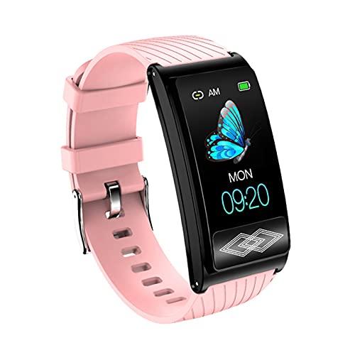 YDK P10 Smart Watch para Android iOS, 1.14'TFT Pantalla De Color Holter Monitoreing Smart Watch, RECORDATORIO DE Llamada Rastreador Smart Watch,Rosado