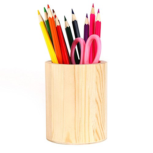 Pen Holder, Solid Wood Desk Pen Pencil Holder Stand Multi Purpose Use Pencil Cup Pot De Wood Desk Pen Pencil Holder Stand Multi Purpose Use Pencil Cup Pot Desk Organizersk Organizer (Wood)