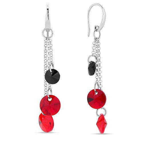 Swarovski Elements leichter Damen Ohrring lang hängend multicolor rot und schwarz, Silber 925, by Spark