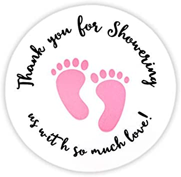 THANK YOU Stickers Labels Gift Food Craft Baby Shower Wedding Craft PINK GOLD