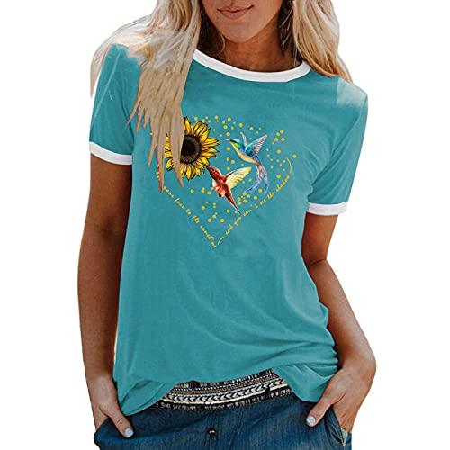 UEsent Camiseta informal de verano para mujer, camiseta de manga corta, informal, cuello redondo, túnica, blusa, tees, sudadera azul XL