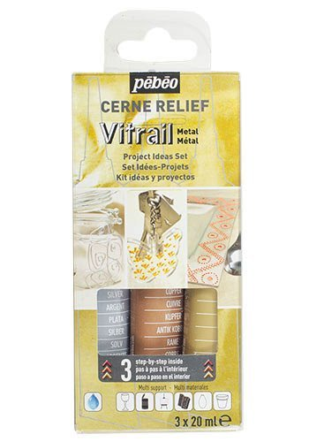 Pebeo 760120 3 x 20 ml Vitrail Cerne Relief Glass Outliner Set , Metal Silver/ Gold/ Copper