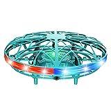 QIEZI Mini Dron UFO, Helicóptero de Inducción Infrarrojo con Control Manual de Rotación de 360 ° Mini Juguete Volador, Pelota Voladora OVNI Mejorada con LED, Dron Interior Recargable USB