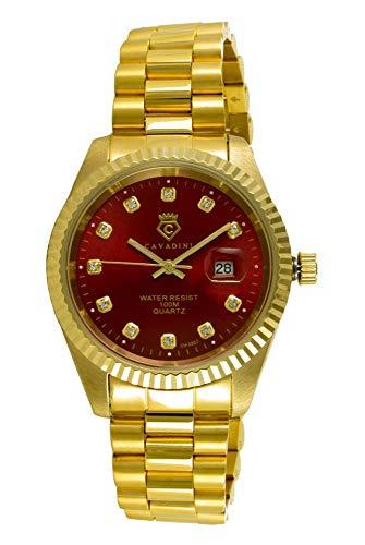 CAVADINI Leonardo Herren-Armbanduhr Edelstahl (Gold/rot)