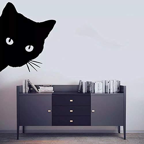 WERWN Etiqueta engomada de la Pared del Gato Que mira furtivamente el Arte de la Pared de la decoración del Dormitorio del hogar Educativo Animal