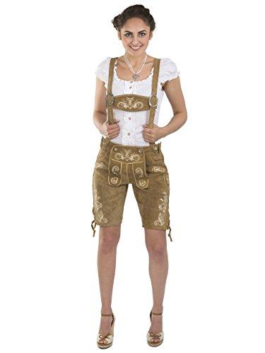 Damen Wiesnzauber Trachtenlederhose - mittellange Trachten Lederhosen - Lederhose Alternative zum Dirndl - sexy Hose Trachtenhose (36, Hellbraun)