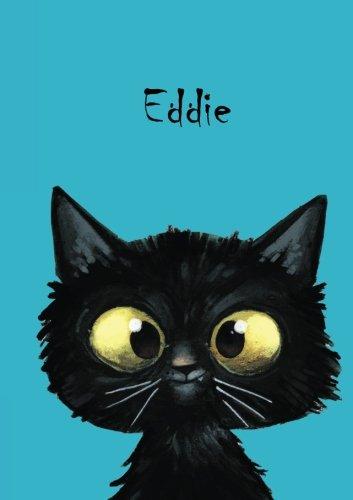 Eddie: Personalisiertes Notizbuch, DIN A5, 80 blanko Seiten mit kleiner Katze auf jeder rechten unteren Seite. Durch Vornamen auf dem Cover, eine ... Coverfinish. Über 2500 Namen bereits verf