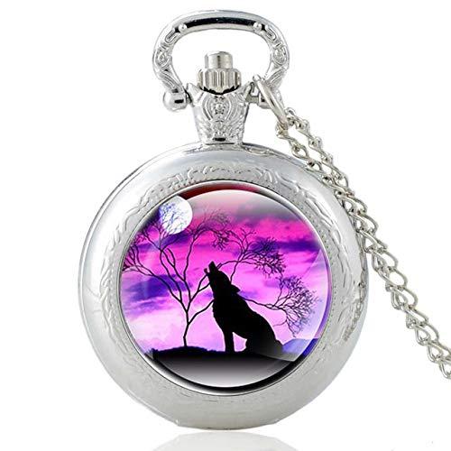 Yqs Taschenuhr Neue Art und Weise Weinlese-Bronze Mysterious Wolf-Quarz-Taschen-Uhr-Retro Männer Frauen Wolf-Anhänger-Halskette Antikschmuck (Color : P433 Silver)