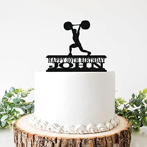 Tope para tartas de boda de acrílico para hombre de levantamiento de pesas Clean & Jerk y adorno para tarta de cumpleaños de 6 pulgadas para despedida de soltera, aniversario, cumpleaños.