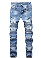 With ripped design on the knee,those jeans show your charming taste and keep you in fashion style With enough elasticity and good material,feels very comfortable and looks great after trying it on Nice cutting in good version style,they are easily to...