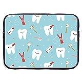 Tela Dental Happy Teeth and Friends Funda para portátil Funda con Cremallera portátil Funda para portátil, 13 Pulgadas